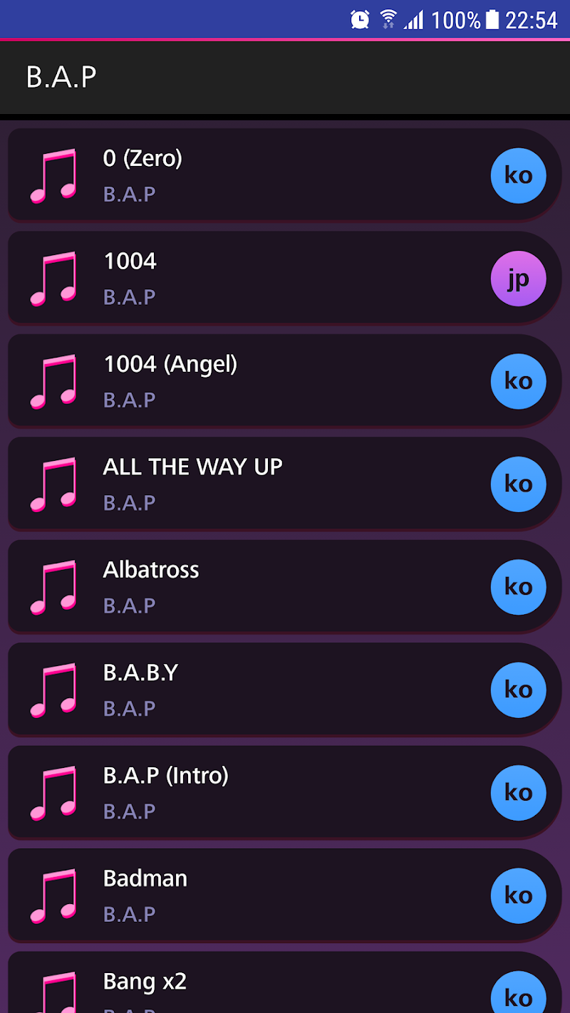 Скриншот Lyrics for B.A.P (Offline)