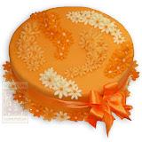 50. kép: Ünnepi torták - Narancssárga virágos szalagos torta