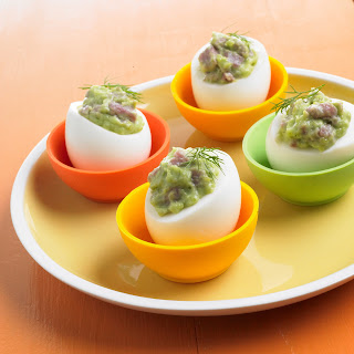 Ham and Avocado Deviled Eggs.