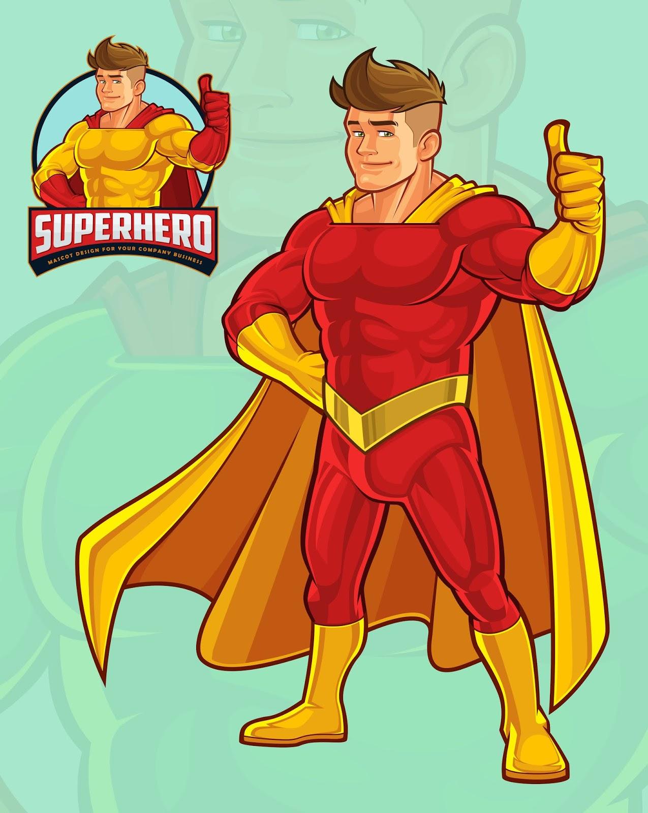 Superhero Mascot Free Download Vector CDR, AI, EPS and PNG Formats