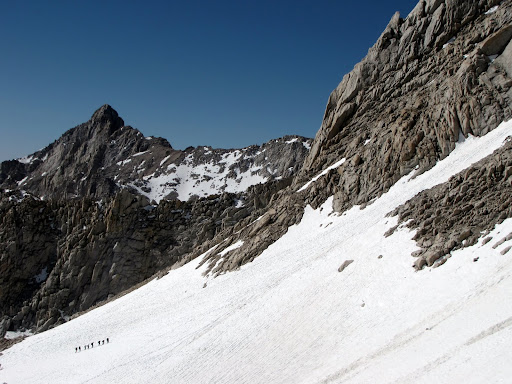 A large group entering the Mountaineer's Route Couloir on Mount Whitney.
