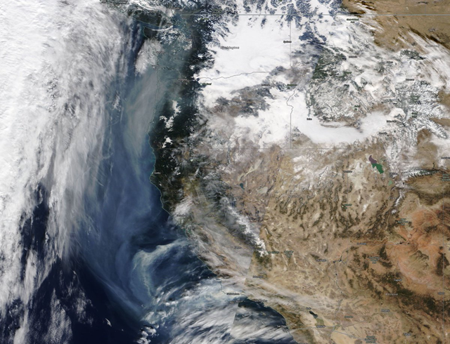 NASA MODIS satellite shows wildfire smoke in Southern California making its way all the way up to the Pacific Northwest, 9 December 2017. Photo: NASA