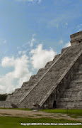 Feathered Serpent, bottom of El Castillo staircase N Stairs.JPG