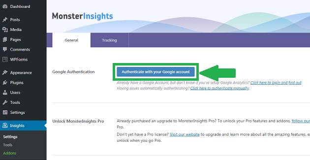 authenticate-google-analytics-with-monsterinsights