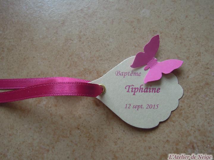 180 - Etiquettes à dragées Baptême  Tiphaine 12 sept 2015