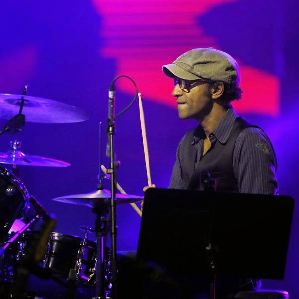 French drummer Manu Katche performs on stage during the Monte Carlo Summer Festival on July 23, 2014 in Monaco.