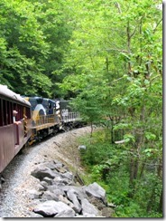 Train goes right by the Nantahala River