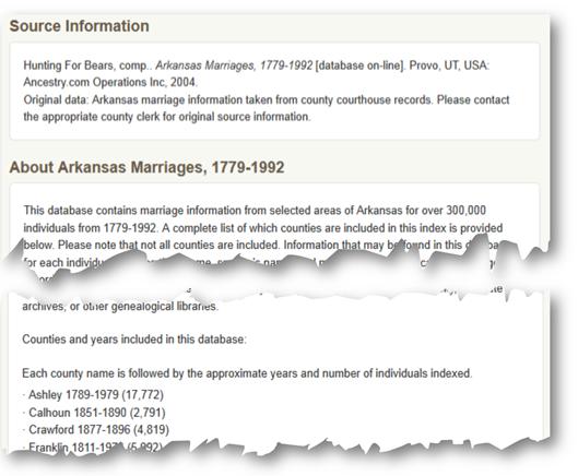 显示Ancestry.com数据库的源信息和描述的示例