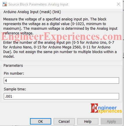 Setting Analog Pin Arduino for External mode