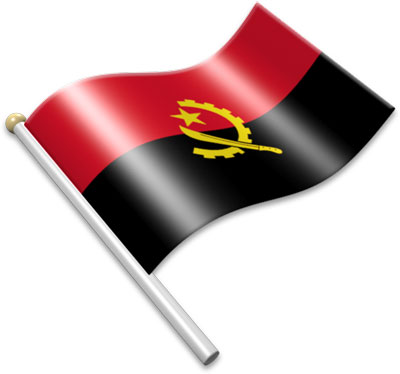 The Angolan flag on a flagpole clipart image