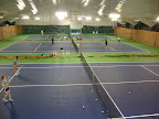 Three of six newly renovated indoor tennis courts