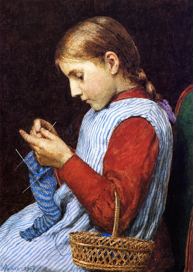Julian Alden Weir - Girl Knitting