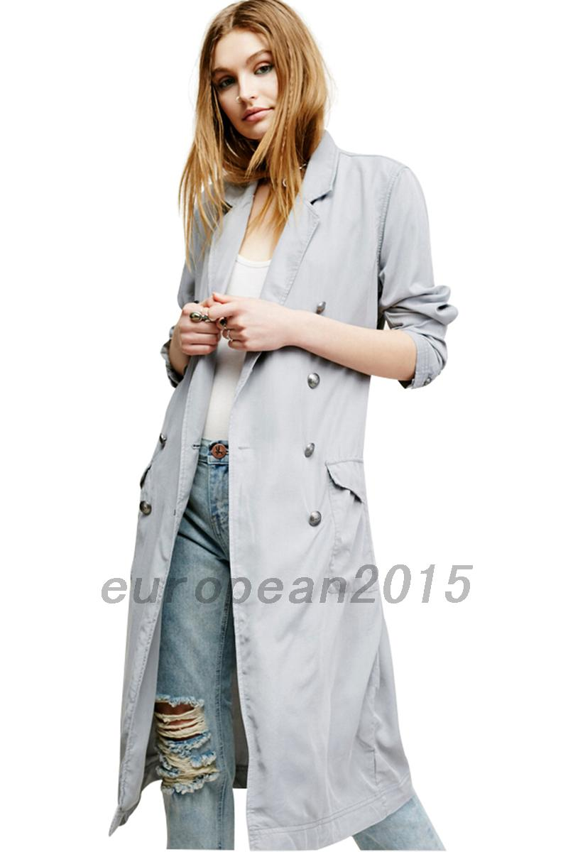 femme sexy manteau trench coat parka veste demi saison windbreaker gris clair ebay. Black Bedroom Furniture Sets. Home Design Ideas