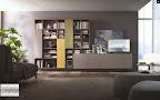 Mobile da soggiorno sospeso, con libreria a giorno con ante e basi sporgenti