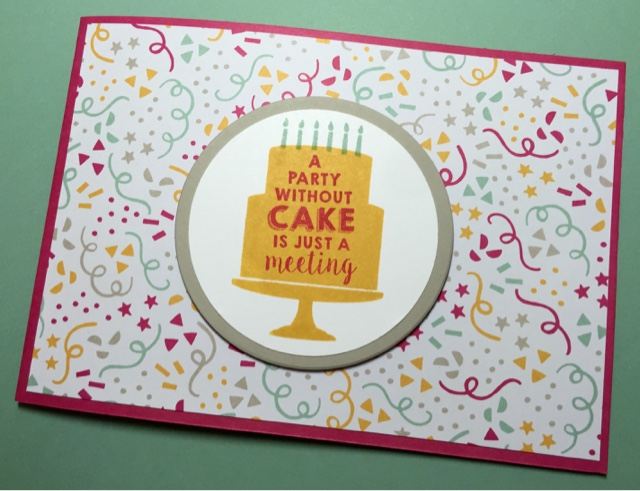 Ellen woodbridge independent stampin up demonstrator central to start this card i chose the piece of its my party designer series paper i wanted to use with my birthday cake stamp from the party wishes stamp set that m4hsunfo