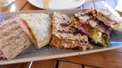 Renata's Italian happy hour, called Aperitivo, is available M-F 4-5:30 in the bar and patio only. This is one of the available dishes, Piadina with broccoli pesto, ham, and ricotta