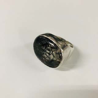 Sterling Silver Black Fleck Stone Ring