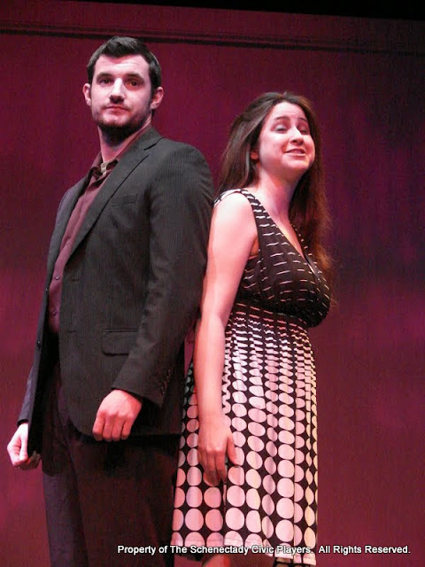 """Paul Dederick and Jennifer Van Iderstyne in """"English Made Simple"""" as part of THE IVES HAVE IT - January/February 2012.  Property of The Schenectady Civic Players Theater Archive."""