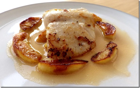 Hake with Cider and Apples