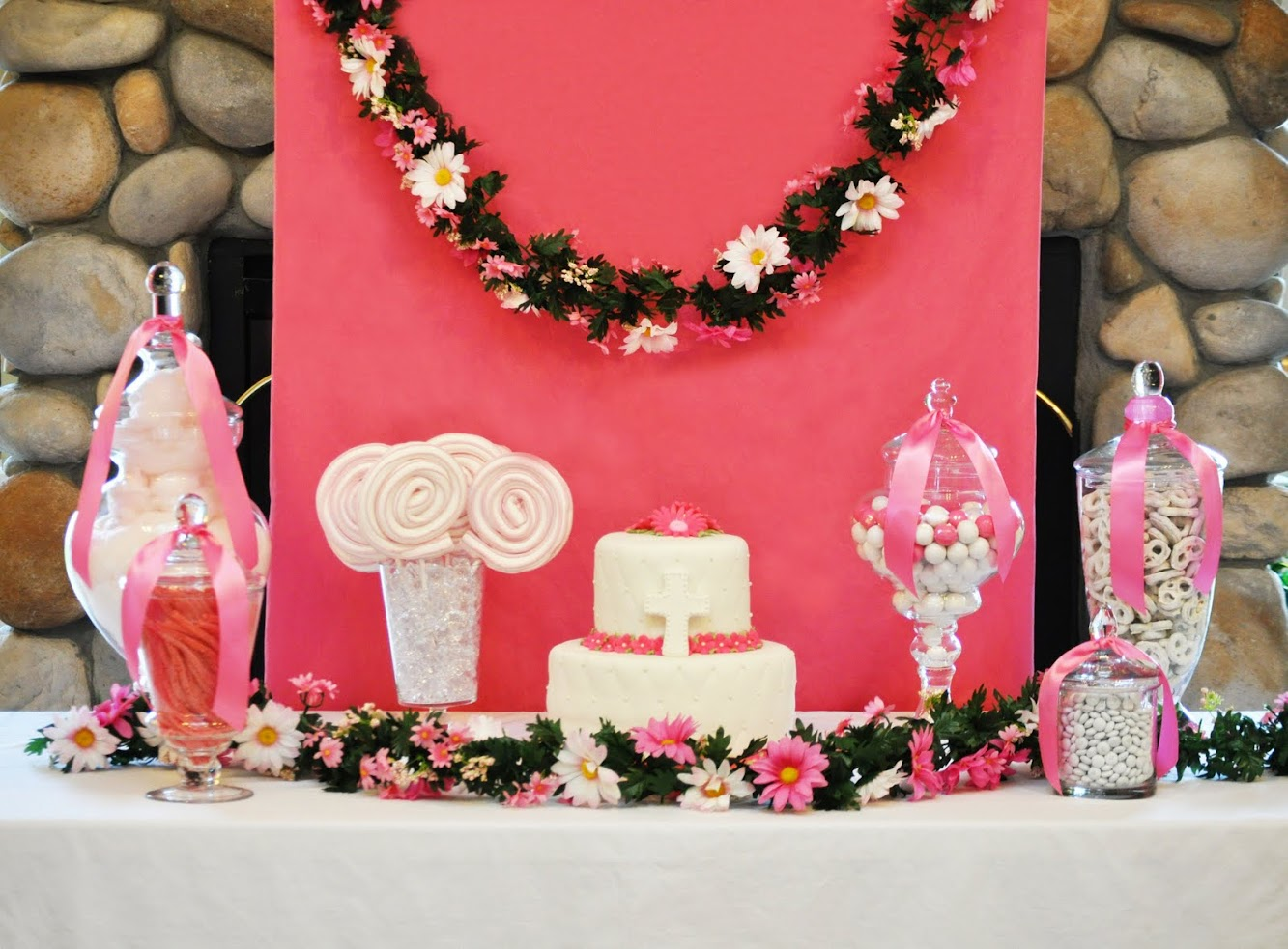 Pink & White Gerber Daisy Dessert Table