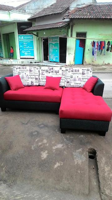 service kursi sofa model L shape warna kombinasi
