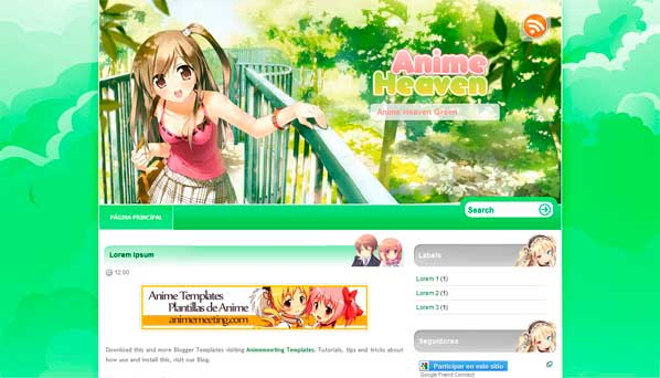 anime blogger template Anime Heaven Green