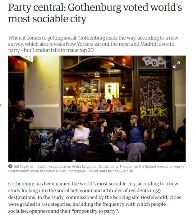 Gothenburg most sociable