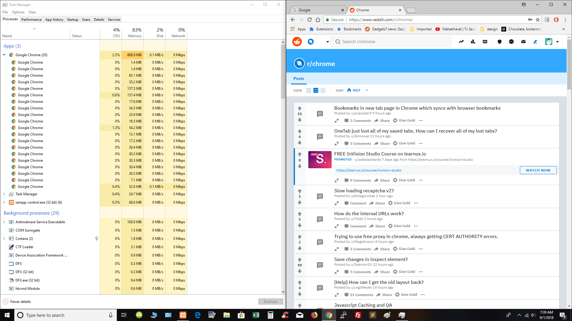 Only 2 tabs are opened, but in task manager it shows Chrome (20) and