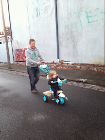 Maisie and Dad off for a Smart-Trike ride!