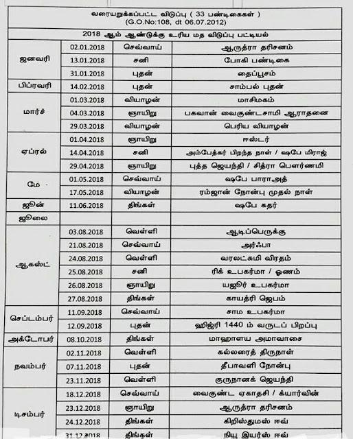 2019 government holidays in tamilnadu