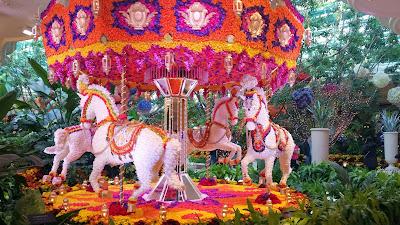 Carousel made all of flowers inside The Wynn, November 2014