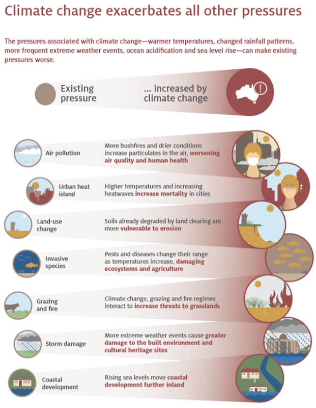 Climate change exacerbates all other environmental pressures, including air pollution, urban heat island, land-use change, invasive species, grazing and fire, storm damage, and coastal development. Graphic: Australia Government Department of Environment and Energy