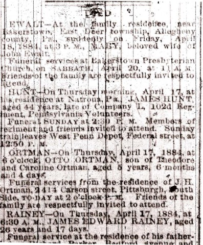 HUNT_James_Obit_PittsburghGazette_1884
