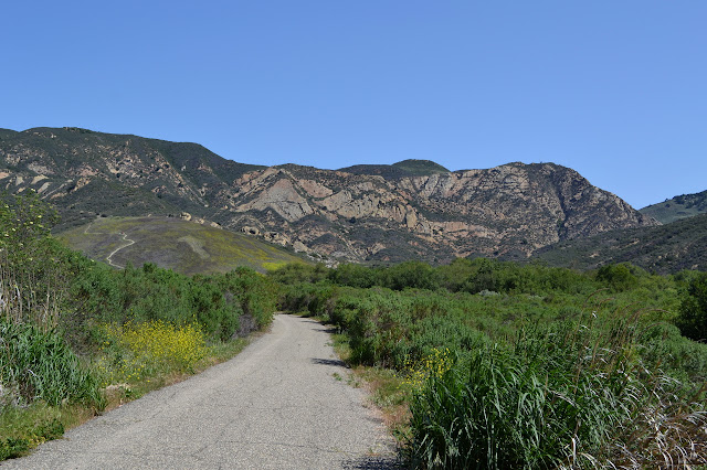 starting along the paved road to the actual trail