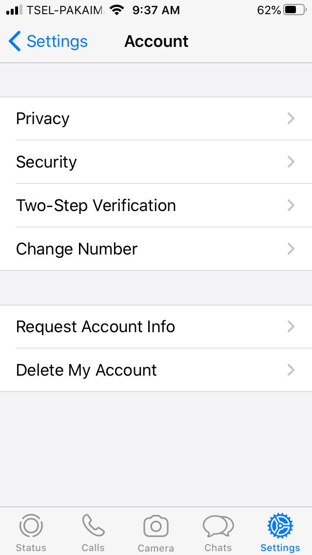 Menu Account WhatsApp Mesenger