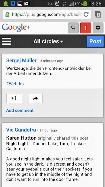 Google+ Mobile Site
