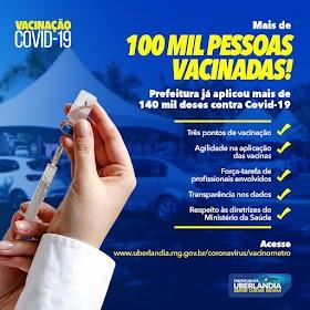 Mais de 100 mil pessoas são vacinadas contra Covid-19 em Uberlândia