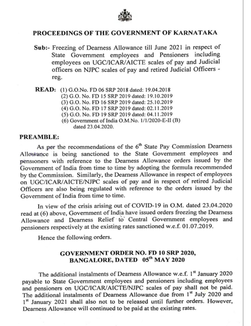 Regulation of non-payment of dues allowance (DA) to State Government employees till June -21