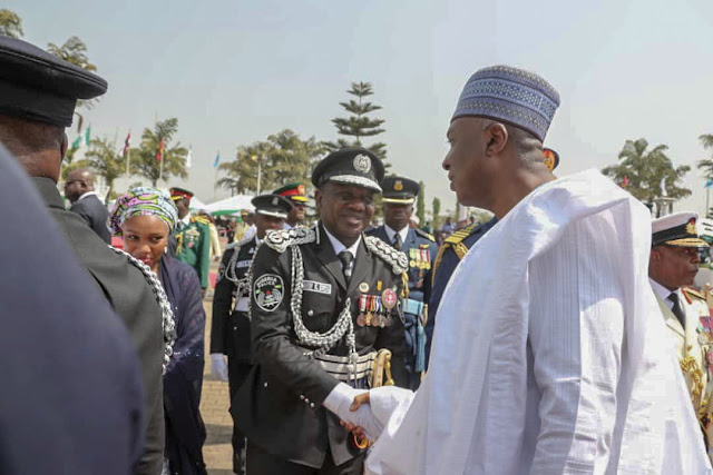 It is Over: Pictures Of Saraki Shaking Idris Ibrahim, Ex IGP Today