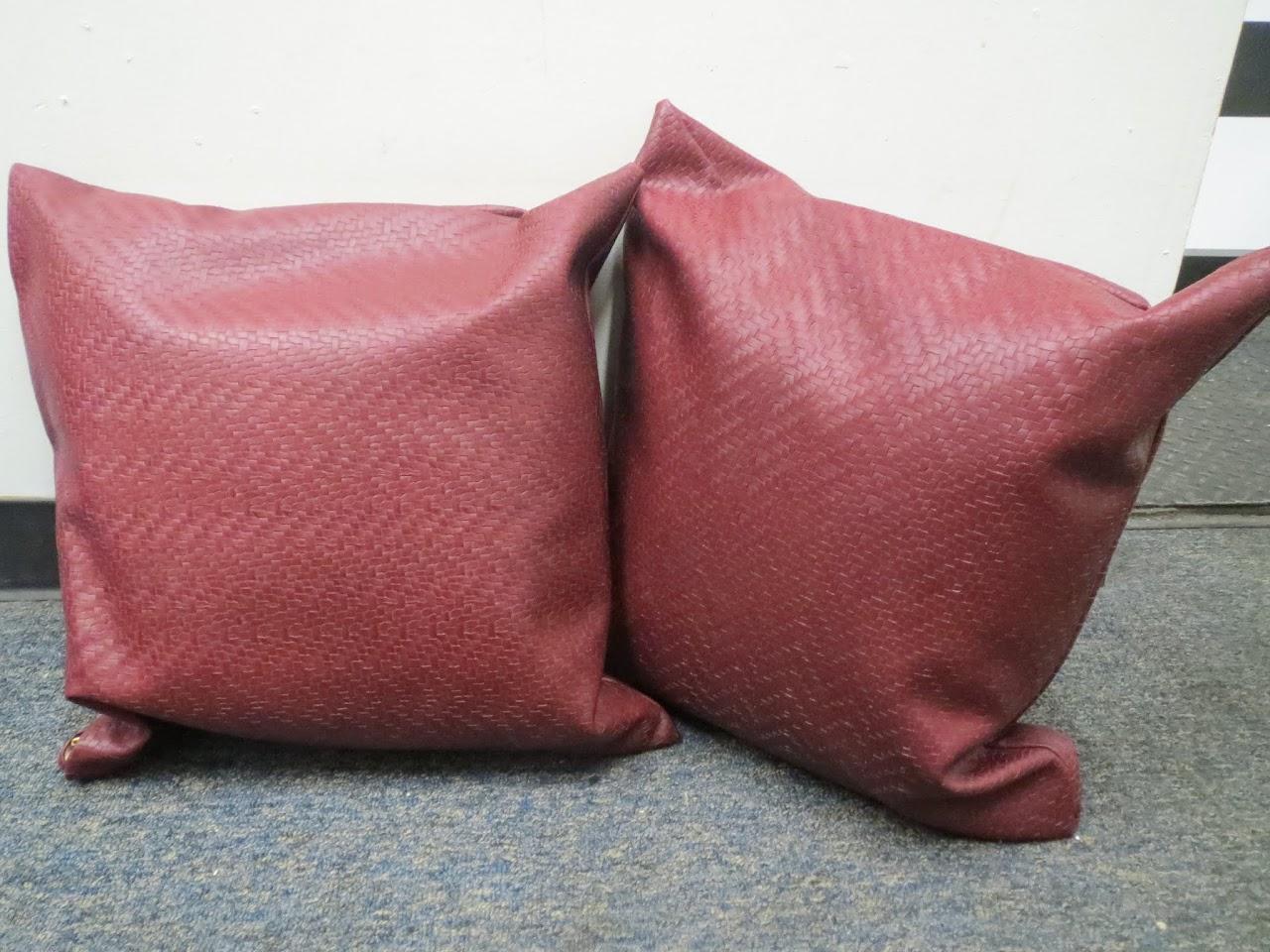 Woven Leather Throw Pillow Pair