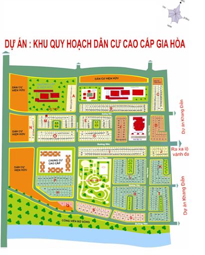 bản đồ phân lô khu dân cư gia hòa