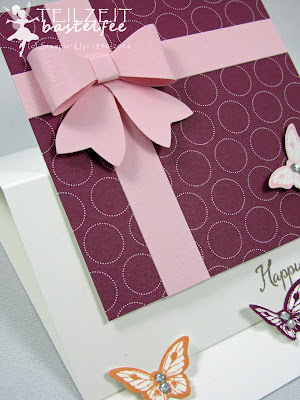 Stampin' Up! - In{k}spire_me #253, Papillon Potpourri, Balloon Celebration, Partyballons, Designer Series Paper, Bow Builder Punch, Elementstanze Schleife, Mini-Schmetterling, Bitty Butterfly, Birthday, Geburtstag, Color Challenge, Easel Card