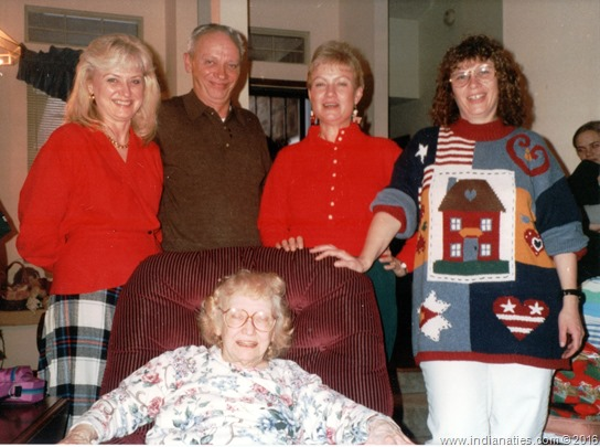 Christmas 1996, Martha Niehaus Fleetwood, Donald Frank Niehaus, Nancy Niehaus Underwood, Linda Niehaus May - with Mom, Rosemary Weber Niehaus seated.