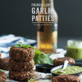 FRENCH LENTIL AND GARLIC PATTIES WITH GREEN SAUCE