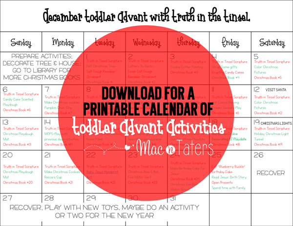 printable calendar of toddler advent activities
