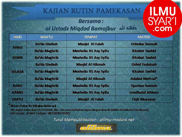 Informasi Jadwal Kajian Sunnah di Pamekasan