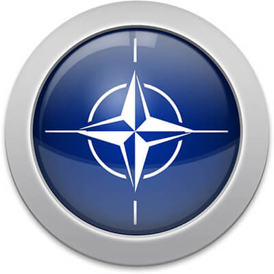 NATO flag icon with a silver frame