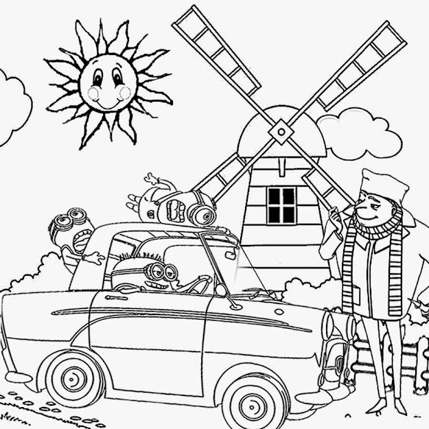Old Car Crazy Driving Mayhem Minion Coloring Page Despicable Me Cartoon  Preschool Worksheet Activity