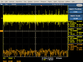Low frequency oscilloscope trace from Belkin phone charger