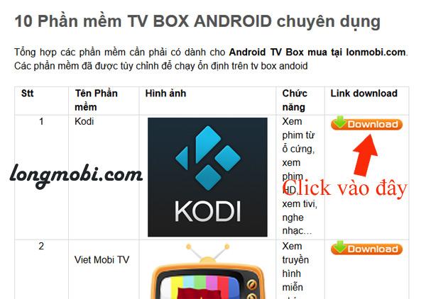 cài dặt phần mềm cho android tv box tu longmobi